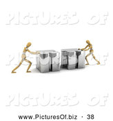 Clipart of Two 3d Wood Mannequins Pushing Together Linking Puzzle Pieces by Stockillustrations