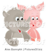 Clipart of Two Cute Baby Rhino and Piglets Side by Side by Alex Bannykh