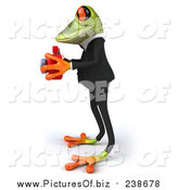 Vector Clipart of a 3d Green Business Frog Taking Pictures by Julos