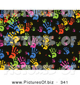 December 13th, 2012: Vector Clipart of a Black Background of Rainbow Hands by Prawny