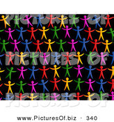 December 12nd, 2012: Vector Clipart of a Black Background of Rainbow People by Prawny