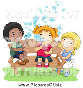 Vector Clipart of a Black Boy and White Girls Blowing Bubbles and Sitting on a Bench by BNP Design Studio