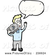 Vector Clipart of a Blond White Man with a Camera Wearing a Blue Sweater with a Conversation Bubble by Lineartestpilot