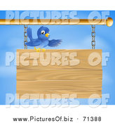 Vector Clipart of a Bluebird Perched on Top of and Presenting a Hanging Wood Sign Against a Sky by AtStockIllustration