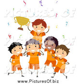 Vector Clipart of a Boys Sports Team Celebrating a Win and Holding a Trophy by BNP Design Studio