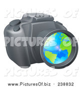 Vector Clipart of a Camera with a Globe in the Lens by AtStockIllustration