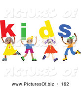 Vector Clipart of a Cheerful Group of Diverse Children Spelling Kids by Prawny