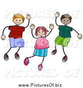 Vector Clipart of a Cheerful Stick Girl and Boys Waving by BNP Design Studio