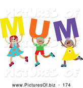 Vector Clipart of a ChildChild's Sketch of a Group of Diverse Children Spelling Mum by Prawny