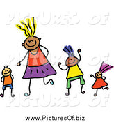 Vector Clipart of a Childs Sketch of Happy Children and Mother by Prawny