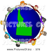 Vector Clipart of a Circle of Children Holding Hands Around an Idaho Globe over White by Djart