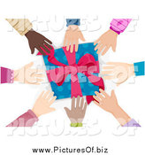 Vector Clipart of a Circle of Diverse Hands Reaching for a Present by BNP Design Studio