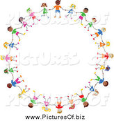 Vector Clipart of a Circle of Diverse Stick Children Holding Hands by Prawny