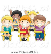 Vector Clipart of a Class of Smart Diverse School Kids Raising Their Hands by BNP Design Studio