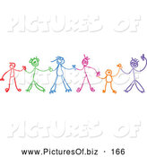 Vector Clipart of a Colorful Chain of Stick Figure Children Holding Hands by Prawny