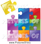 Vector Clipart of a Colorful Jigsaw Puzzle by Yayayoyo