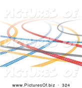 December 7th, 2012: Vector Clipart of a Colorful Tire Tread Marks on a Solid White Background by Eugene
