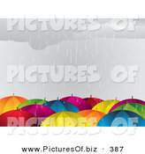 Vector Clipart of a Crowd of Colorful Umbrellas in the Rain During a Storm by Elaineitalia