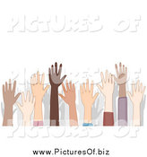 Vector Clipart of a Crowd of Diverse Raised Hands and Shadows by BNP Design Studio