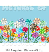 Vector Clipart of a Crowded Garden of White, Red, Yellow, Pink, Brown, Green and Purple Daisy Flowers over a Blue Background by KJ Pargeter
