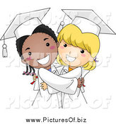 Vector Clipart of a Cute Black and White Graduate Girls Hugging by BNP Design Studio