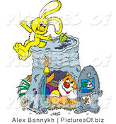 Vector Clipart of a Cute Cat Inside a Pail Club House, a Yellow Bunny Rabbit Sitting on Top by Alex Bannykh