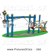 Vector Clipart of a Cute Koala Swinging with an Emu and a Kangaroo Going down a Slide on a Playground at School Recess by Dennis Holmes Designs