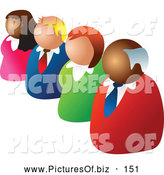 Vector Clipart of a Diagonal Line of Four Diverse Business People by Prawny