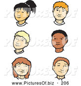 Vector Clipart of a Digital Collage of 6 Teenage Girl and Boy Faces by Xunantunich