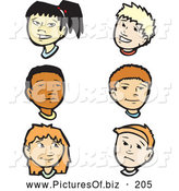 Vector Clipart of a Digital Collage of Children; Girl and Boy Faces by Xunantunich