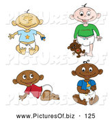 Vector Clipart of a Digital Set of of Black, White, Indian and Asian Babies in Diapers by Pams Clipart