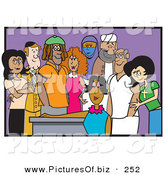 Vector Clipart of a Diverse and Cultural Group of Adult Friends on Purple by Andy Nortnik