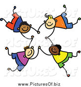 Vector Clipart of a Diverse Boys Falling and Holding Hands by Prawny