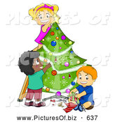 November 29th, 2013: Vector Clipart of a Diverse Children Trimming a Christmas Tree Together by BNP Design Studio