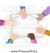 Vector Clipart of a Diverse Children's Hands Touching Paper by BNP Design Studio