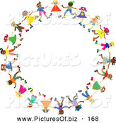 Vector Clipart of a Diverse Colorful Circle of Happy Children Holding Hands by Prawny
