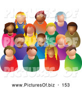 Vector Clipart of a Diverse Crowd of Colorful Faceless People, on White by Prawny