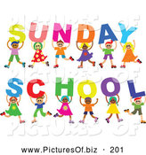 Vector Clipart of a Diverse Group of Cheerful Children Holding Letters Spelling out Sunday School by Prawny