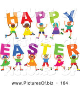 Vector Clipart of a Diverse Group of Cheerful Children Spelling out Happy Easter by Prawny