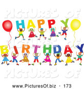 Vector Clipart of a Diverse Group of Children Spelling out Happy Birthday on White by Prawny