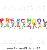 Vector Clipart of a Diverse Group of Happy Children Spelling the Word Preschool by Prawny