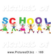 Vector Clipart of a Diverse Group of Six Children Spelling out School by Prawny