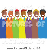 Vector Clipart of a Diverse Group or Team of Happy Men in Colorful Suits by Prawny