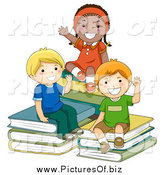 Vector Clipart of a Diverse Happy Children Sitting on Books by BNP Design Studio