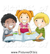 Vector Clipart of a Diverse Happy School Kids Reading a Book by BNP Design Studio