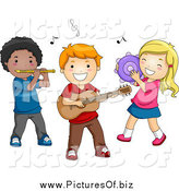 Vector Clipart of a Diverse Musical Preschool Kids Playing Instruments by BNP Design Studio