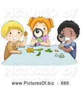 Vector Clipart of a Diverse School Children Inspecting Leaves by BNP Design Studio