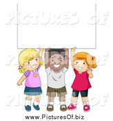 Vector Clipart of a Diverse School Children with a Blank Sign by BNP Design Studio
