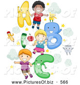 Vector Clipart of a Diverse School Children with Letters by BNP Design Studio