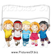 Vector Clipart of a Diverse School Kids Carrying a Sign Banner by BNP Design Studio